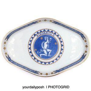 Vintage Aquarius zodiac ceramic trinket tray dish
